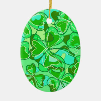 harmonious shamrocks ceramic ornament