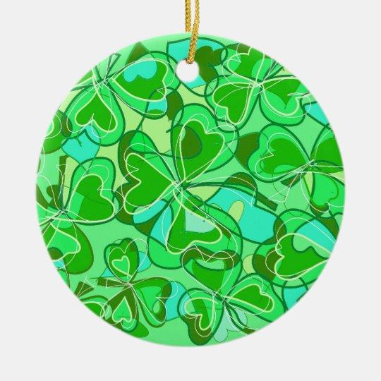 harmonious shamrocks ceramic ornament