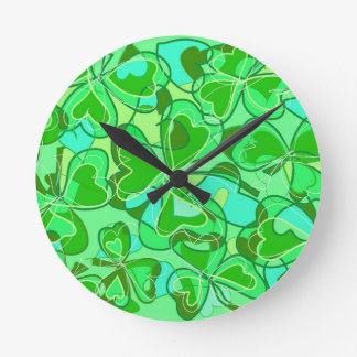 harmonious shamrocks round clock