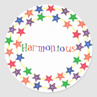 Harmonious stickers, in circles of colorful stars classic round sticker