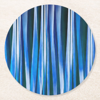 Harmony and Peace Blue Striped Abstract Pattern Round Paper Coaster