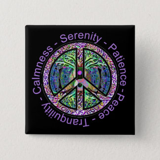 Harmony, Balance, Oneness Peace Symbol Pinback Button