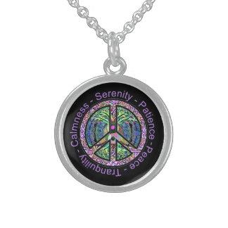Harmony, Balance, Oneness Peace Symbol Round Pendant Necklace