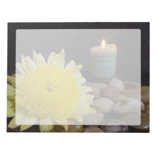 Harmony Candle and Yellow Flower Notepad