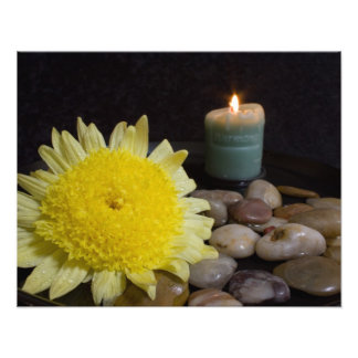 Harmony Candle and Yellow Flower Photo Print