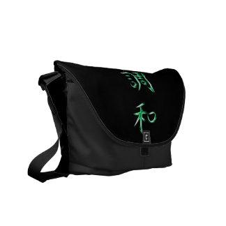 Harmony Japanese Kanji Calligraphy Symbol Courier Bags