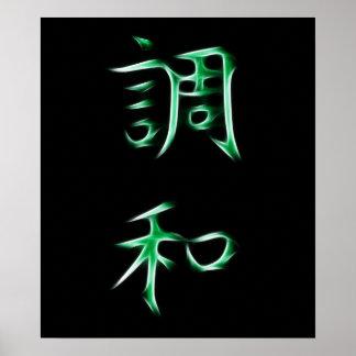 Harmony Japanese Kanji Calligraphy Symbol Poster