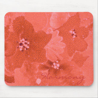 Harmony of mosaic coral flowers painted artwork mouse pad