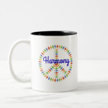 Harmony Peace Sign Two-Tone Coffee Mug