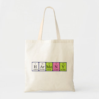 Harmony periodic table name tote bag