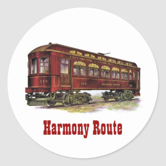 Harmony Route Railway Car Classic Round Sticker