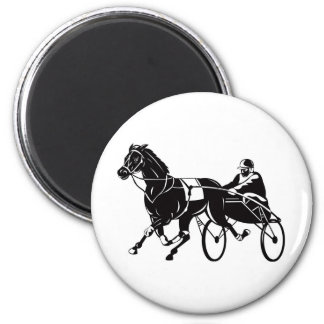 harness cart horse racing sulkies 2 inch round magnet