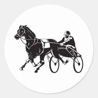 harness cart horse racing sulkies classic round sticker