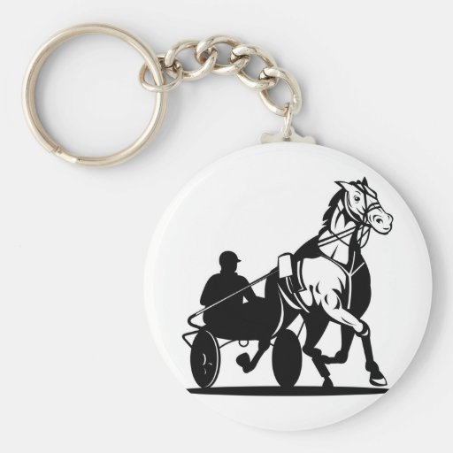 harness cart horse racing sulkies trotter keychains