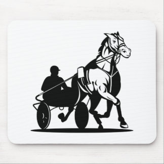 harness cart horse racing sulkies trotter mousepad