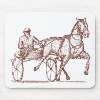 harness cart horse racing sulkies trotter mousepads