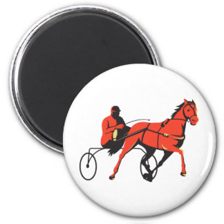 harness horse cart racing retro 2 inch round magnet
