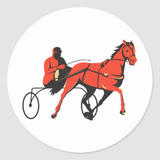 harness horse cart racing retro classic round sticker
