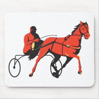 harness horse cart racing retro mouse pad