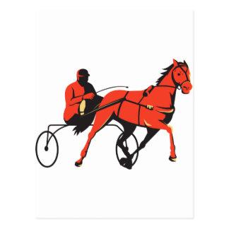 harness horse cart racing retro postcard