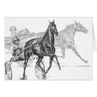 Harness Horse Racing Drawing by Kelli Swan Greeting Card