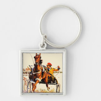 Harness Race Silver-Colored Square Keychain