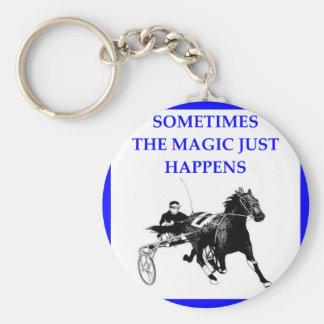 harness racing basic round button keychain