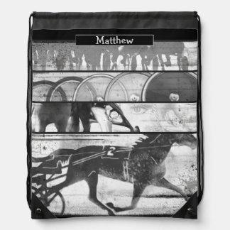 Harness Racing Grunge Drawstring Bag