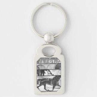 Harness Racing Grunge Silver-Colored Rectangular Metal Keychain
