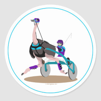 Harness Racing Ostrich Classic Round Sticker