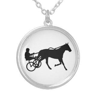 Harness trotting race round pendant necklace