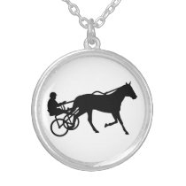 Harness trotting race silver plated necklace