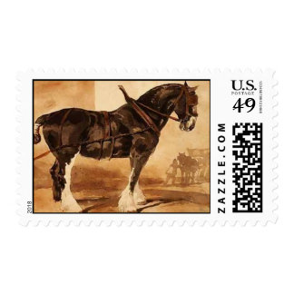 Harnessed black horse postage