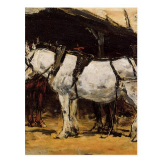 Harnessed Horses by Eugene Boudin Postcard