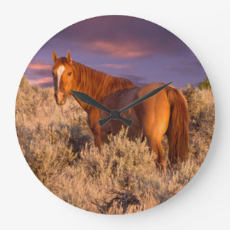 Harney County Wild horse stands alert Large Clock