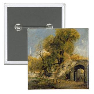 Harnham Gate, Salisbury, c.1820-21 (oil on canvas) Pinback Button
