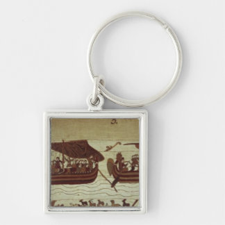 Harold crosses the Channel with sails full of Silver-Colored Square Keychain
