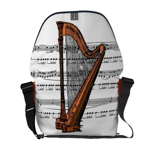 Harp with Sheet Music Rickshaw Medium Zero Messenger Bag