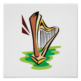 harp abstract with green.png poster