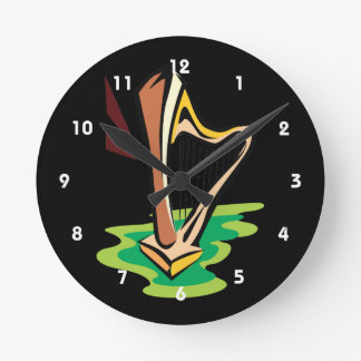 harp abstract with green.png round clock