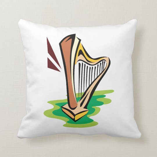 harp abstract with green.png throw pillow