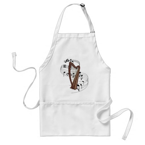 Harp String Instrument and Swirling Music Notes Standard Adult Apron