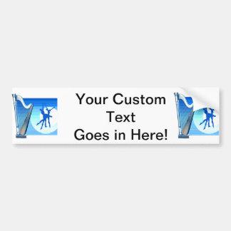 Harp and Dancers Blue Version Graphic Image Bumper Sticker