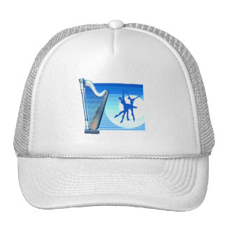 Harp and Dancers Blue Version Graphic Image Hat