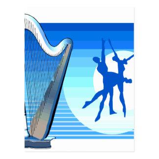 Harp and Dancers Blue Version Graphic Image Postcard