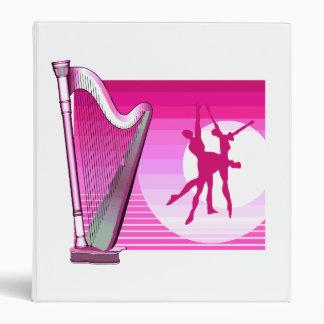 Harp and Dancers Pink Version Graphic Image 3 Ring Binder