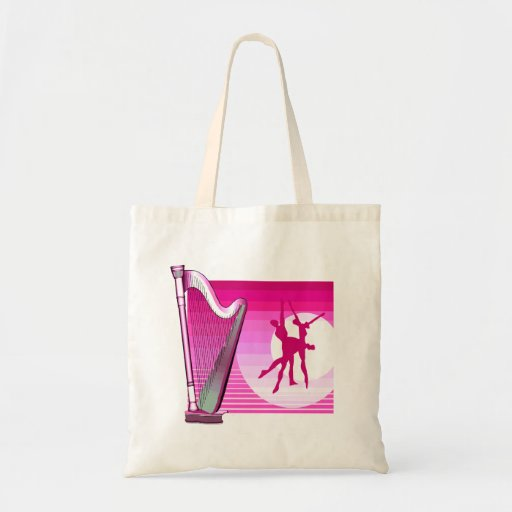 Harp and Dancers Pink Version Graphic Image Tote Bags
