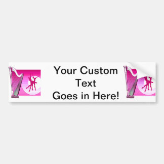 Harp and Dancers Pink Version Graphic Image Bumper Sticker