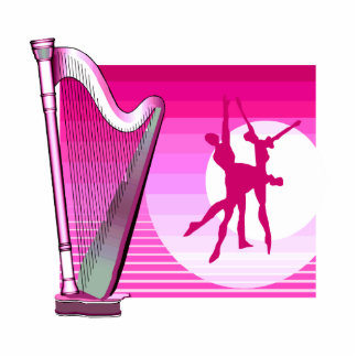 Harp and Dancers Pink Version Graphic Image Standing Photo Sculpture