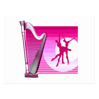 Harp and Dancers Pink Version Graphic Image Postcard